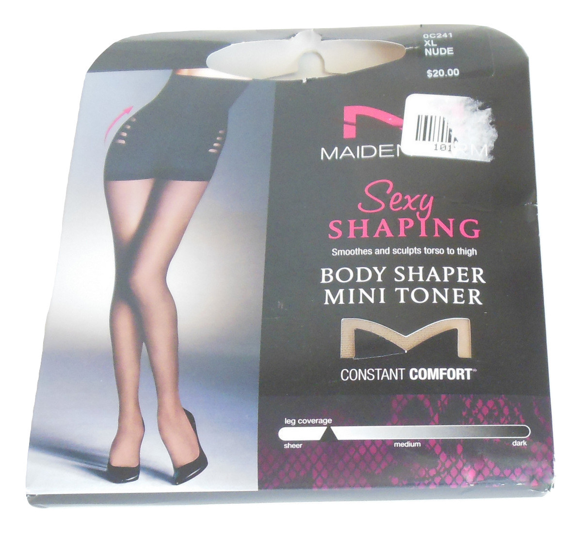 Maidenform Body Shaper Pantyhose Sz XL Nude 20 Denier Silky Sheer Leg Coverage