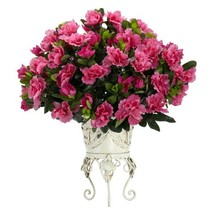 Nearly Natural 6687 Azalea with Metal Planter Decorative Silk Plant, Pink - $52.51