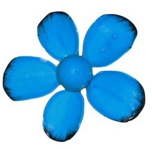 Vintage Daisy Pin Blue and Black Retro Enamel Flower Mod Jewelry For Ladies - $14.95