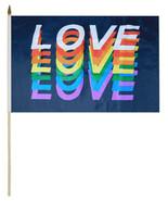 "Wholesale Lot of 6 Love Rainbow Black 100D 12""x18"" Stick Flag 30"" Wood S... - £11.62 GBP"