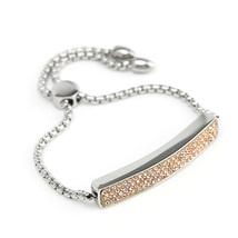 UNITED ELEGANCE Silver Tone Bar Bracelet With Champagne Swarovski Style Crystals image 3
