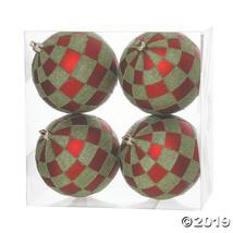 """Vickerman 4.7"""" Red-Lime Check Glitter Ball Ornament - 4/Box - $41.50"""