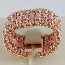 925 Silver Ring Rose Gold Plated, Top & Balls, Pink Quartz image 4