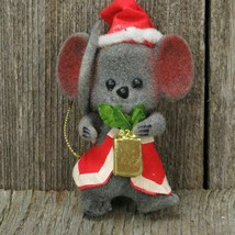 Flocked Mouse Twinkle Ornament Christmas Mice Morgan Inc Santa Hat Vtg  - $33.65