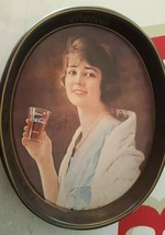 Vintage 1981 Woman Holding Glass Drink Coca Cola Soda Metal 15x12 Servin... - $4.95