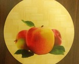 """1 Natural Bamboo Heat Pad, Kitchen Decor, ROUND, square, approx. 7"""", 3 APPLES"""