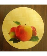 "1 Natural Bamboo Heat Pad, Kitchen Decor, ROUND, square, approx. 7"", 3 APPLES - $7.91"