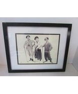 THE THREE STOOGES FRAMED PRINT MOE LARRY CURLY GOLFING WITH FRIENDS SIGNED  - $24.70