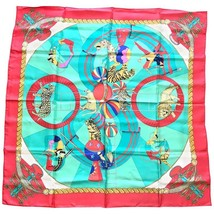 Vintage HERMES Carre large silk scarf with red and blue tone print, Clowns, Leop - $322.00