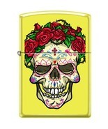 Zippo Lighter - Skull With Roses Neon Yellow - 853937 - £21.34 GBP