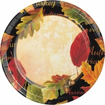 "Autumn Expressions 8 Ct 7"" Dessert Cake Plates Sturdy Style Thanksgiving... - $4.39"