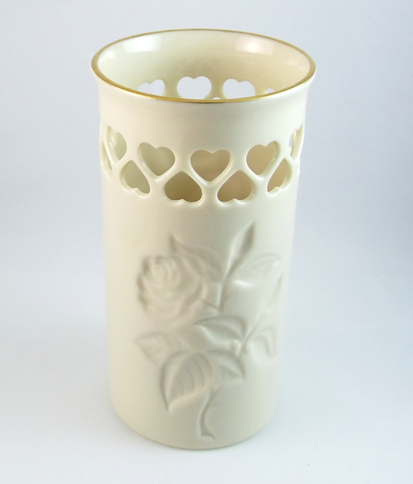 Lenox pierced heart vase hand painted gold trim USA embossed intaglio rose