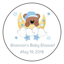 12 teddy bear moon and stars baby shower stickers,personalized,round,fav... - $8.99