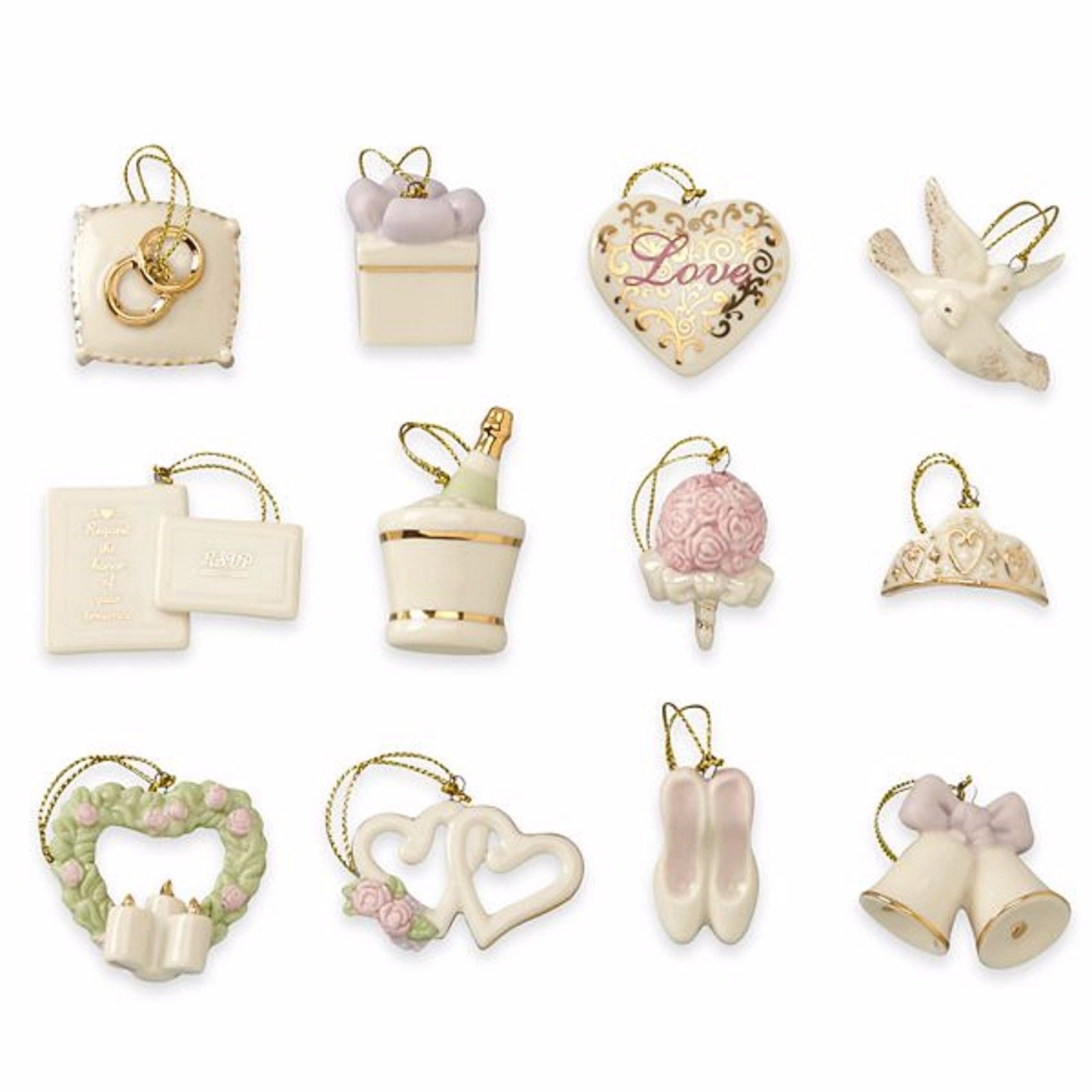 Lenox Wedding Miniature Tree Ornaments Set Anniversary Bridal Dove Heart NEW