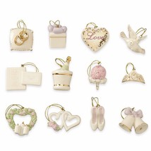 Lenox Wedding Miniature Tree Ornaments Set Anniversary Bridal Dove Heart... - $73.26