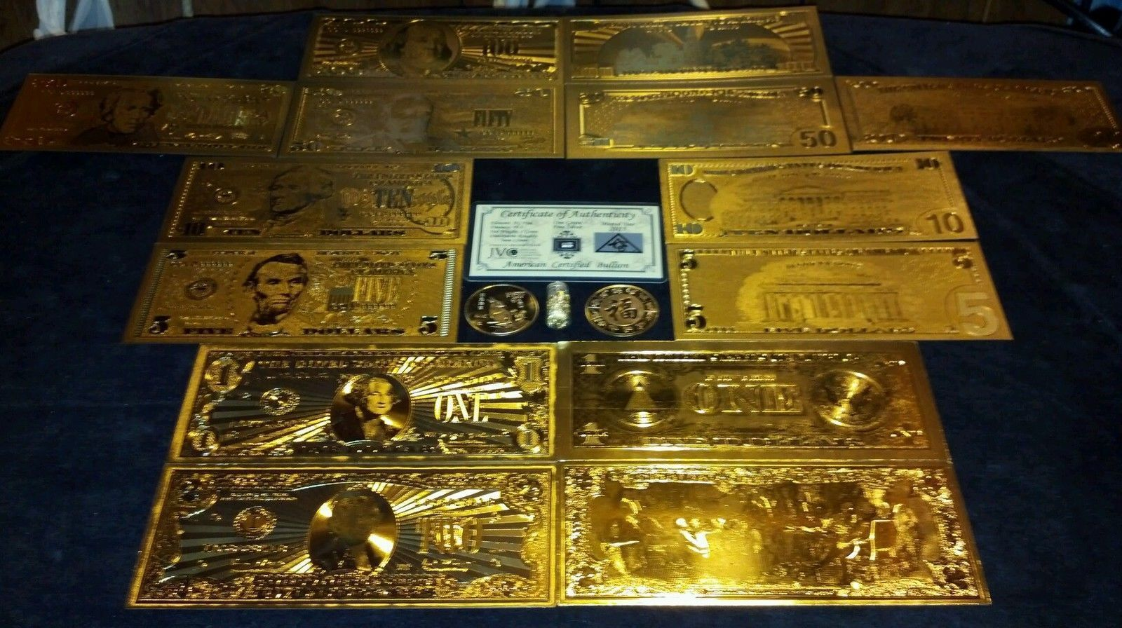 105 Pc.MIXED GOLD &/OR SILVER BANKNOTE REP.*(15 DIFFERENT TYPES-105 BILLS TOTAL)