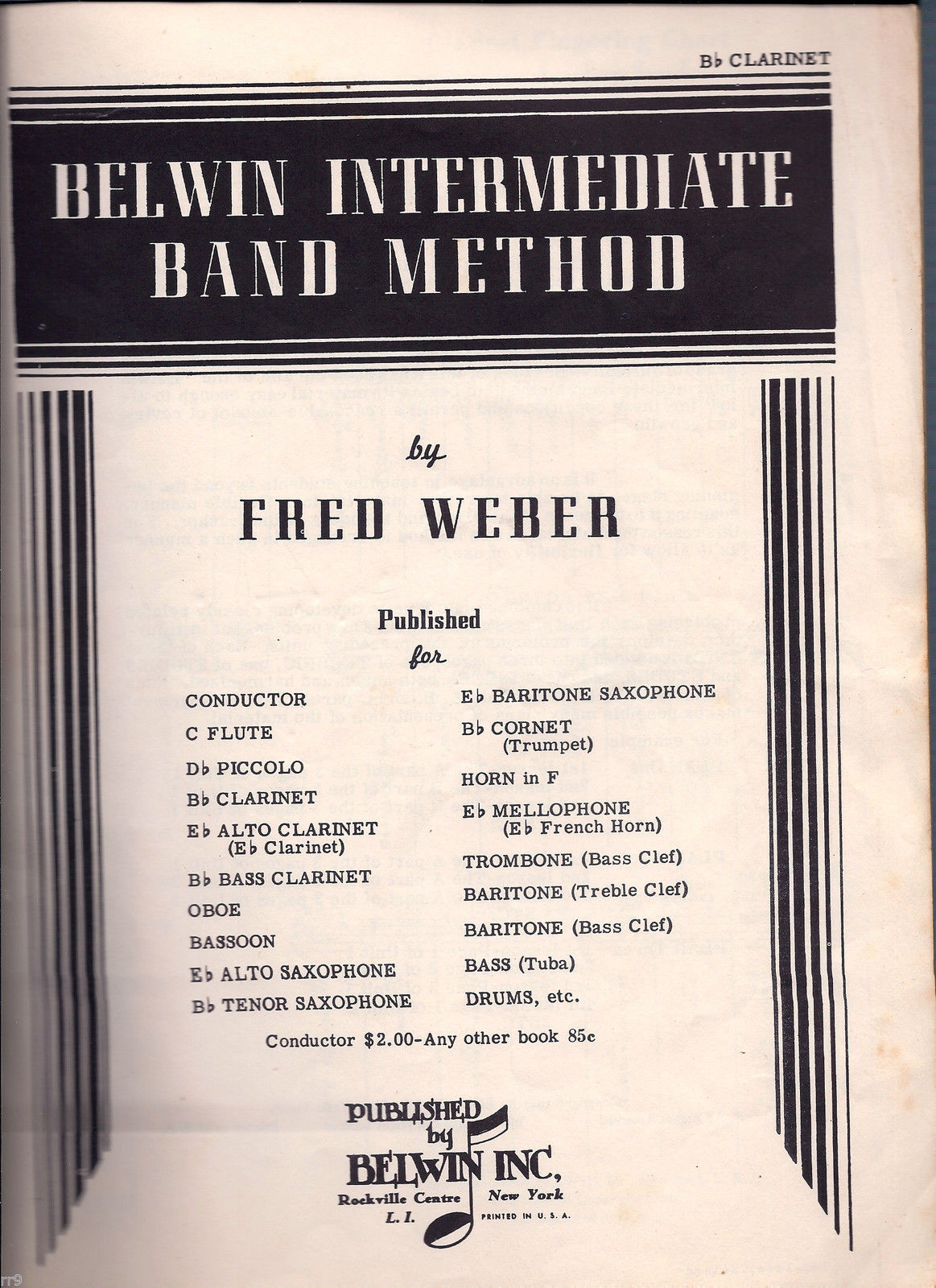 Belwin Intermediate Band Method Song Book for Class or Full Band Instruction