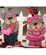 Valentine's Day Decor, Unique Bear's, Tole Painted Bears, Wood Bears - $105.99