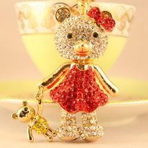 Red Baby Bear Fashion Keychain Rhinestone Crystal Charm Cute #MCK11 - $18.17