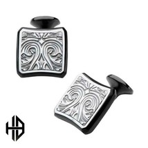 Hollis Bahringer Black Plated Stainless Steel Bold Ornate Texture Cuff L... - $88.20