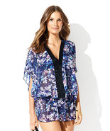 Womens New NWT S Designer Badgley Mischka Blouse Floral Blue Beaded Cove... - $74.00