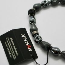 SILVER 925 BRACELET HEMATITE A SKULL AND LAVA BSK-2 MADE IN ITALY BY MASCHIA image 6
