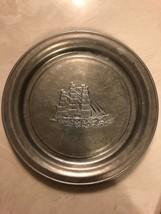 Nautical Schooner Pewter Plate Wilton Columbia PA USA 11Inch Decor Vinatge - $24.75