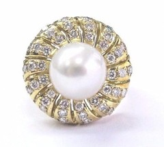 18Kt Pearl Diamond Yellow Gold Jewelry Anniversary Ring 10.3mm .77Ct - $1,633.50