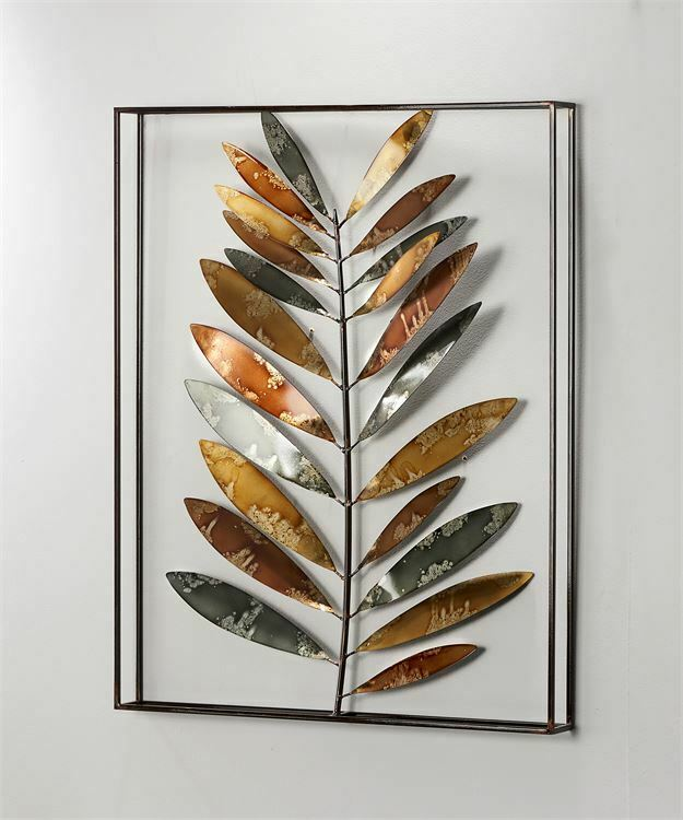 "27"" Iron Leaf Design 3D Wall Art in Black Frame"
