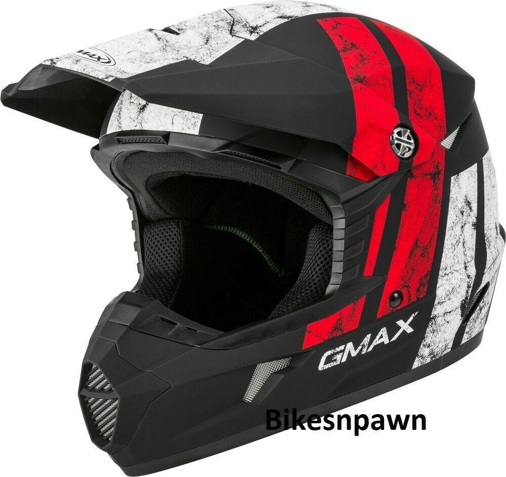 New Adult XS Gmax GM46 Dominant Matte Black/White /Red Offroad Helmet DOT