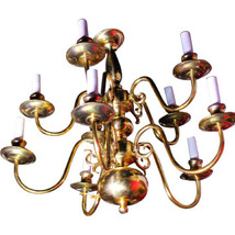 10-Arm Colonial Williamsburg Early American Brass Chandelier Fixture Lam... - $1,776.30