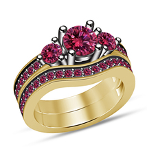Christmas Gifts For Girls Yellow Gold Finish Bridal Ring Set Round Pink ... - $93.02