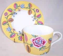 NEW Block Spal Izmir Yellow Floral Flat Cup & Saucer Set, Portugal - $13.99