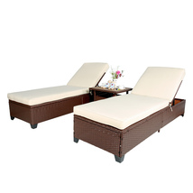3 PC Outdoor Pool Rattan Chaise Lounge Wicker Rattan Adjustable Garden S... - $389.99