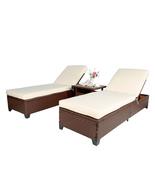 3 PC Outdoor Pool Rattan Chaise Lounge Wicker Rattan Adjustable Garden S... - $389.99