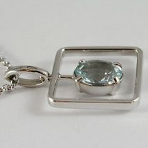 18K WHITE GOLD NECKLACE, OVAL CUT AQUAMARINE 1.80 ct PENDANT WITH SQUARE FRAME image 4