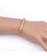 UNITED ELEGANCE Gold Tone Bolo Bar Bracelet, Champagne Swarovski Style C... - $22.99