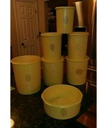Vintage 12 pc Nesting Tupperware Kitchen 7 Containers 5 Lids Yellow Sunb... - $63.42