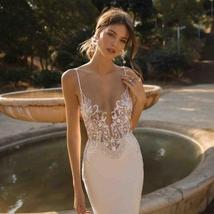 Sexy Illusion Deep V- Neck Spaghetti Straps  Backless Lace Appliques Mermaid Wed