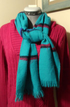 "WOOL BLEND Scarf Green Blue Burgundy with Tassels 12""x54"" Long soft Wove... - €16,46 EUR"