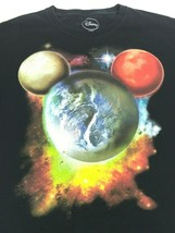 Disney XL Black T-Shirt Earth Planets Outlined in Mickey Head - $18.52