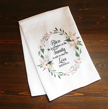 Kitchen Dish Towel, White - Bless the Food Before Us - Floral Wreath - $14.52