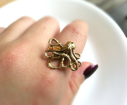 Antique Gold Octopus Ring Steampunk Octopus Ring Adjustable Nautical Ring - $22.00