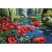 "Dimensions Needlepoint Kit 16""X11""-Lakeside Poppies Stitched In Thread - $67.00"