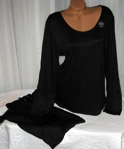 Stretch Plus Size Pajama Set Long Sleeve Long Pants 1X 2X 3X Black 069 - $28.99