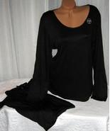 Stretch Plus Size Pajama Set Long Sleeve Long Pants 1X 2X Black 069 - $28.99