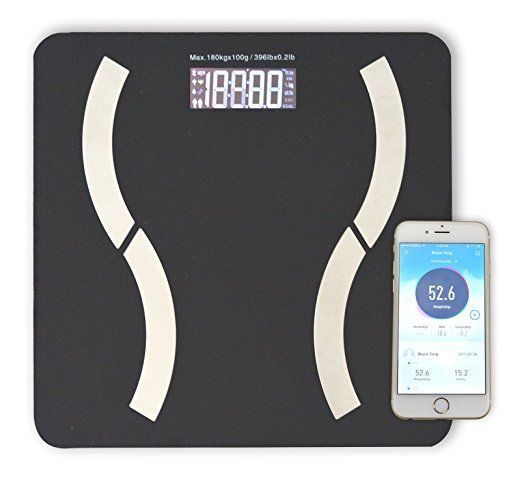 Bluetooth Body Fat Bathroom Scale | Tempered Glass Platform | 9 Measurements