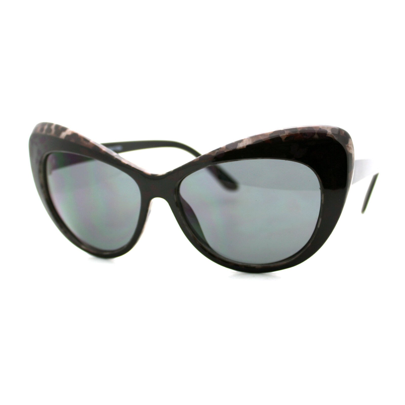 Oversized Wide Cateye Frame Sunglasses Women's Fashion Stylish Eyewear Black