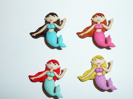 "Adorable Mystic Mermaid Buttons 3D Realistic Shank Buttons (4) 1-1/8"" As... - $3.99"