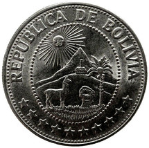 1974 Bolivia 1 Un Peso Coin High Grade Actual Photos Shown Lot#B4417 - $9.95